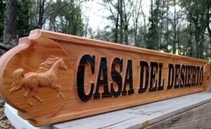 Red Cedar All Weather Outdoor wooden Quarter board, 3D wood carved Horse Driveway Entrance Sign