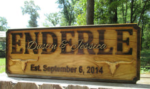Load image into Gallery viewer, Wood carved Longhorn Ranch Family Last Name sign, Ranch Family Wedding gift