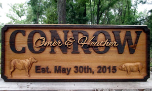 Outdoor Solid Cedar Ranch Name sign