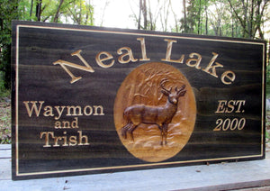 Deer Hunting Camp Solid Wood Family Name sign