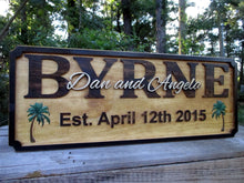 Load image into Gallery viewer, This is a custom carved 3D Tropical themed wedding gift sign. A perfect wedding gift or even anniversary gift. This rustic beauty features 3D carved Palm Trees which are hand painted making this a great way to decorate your tropical home or beach house.