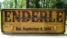 Load image into Gallery viewer, 3D Carved Wooden Longhorn Rancher Family Name Sign