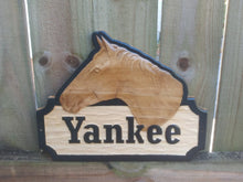 Load image into Gallery viewer, 3D woodworking and high quality personalized horse stall signs to dress up that horse barn aisle.