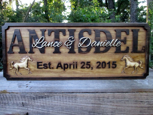 3D Wood carved Horse Personalized Farm Family Wedding Last Name plaque