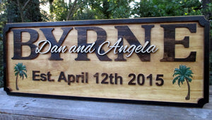 Tropical Wedding gift Newlywed Couple Wood Name Sign