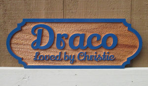 Painted Oak Wood Horse Stall Name Plate