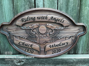 Personalized Biker Memorial Wooden Name Plaque