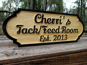 Personalized Horse Tack room Feed room Wood Barn sign