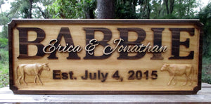 Personalized Cattle Ranch Family Name sign