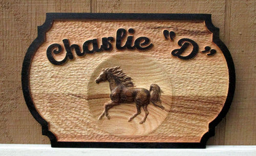 3D Carved Horse Barn Door Name Plate