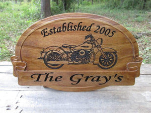 Personalized Wedding Anniversary wooden Gift sign with Harley Davidson motorcycle