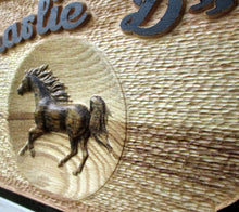 Load image into Gallery viewer, 3D Carved Custom wooden Horse Barn Door Name plate