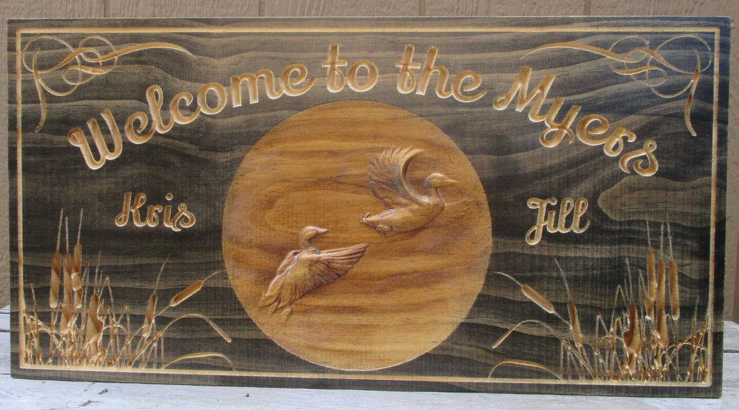 Rustic Duck Hunting Family Name Sign