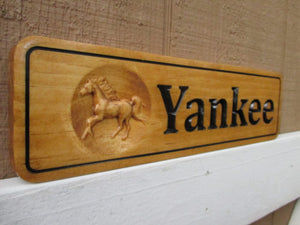 Personalized Solid Wood Horse Name Plate
