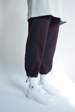 Grosgrain Bungee Pant in Wine with Navy Details