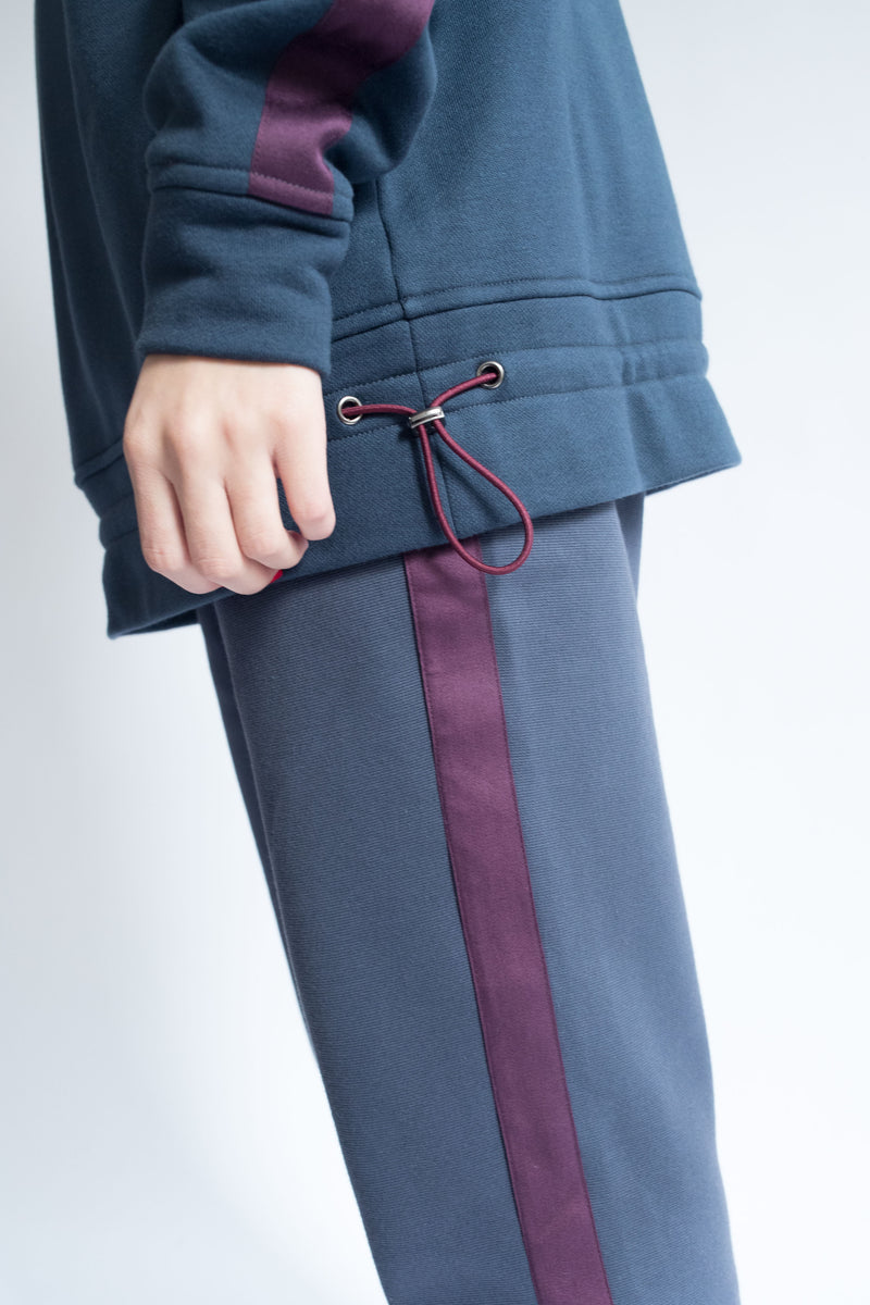 Grosgrain Crop Pant in Navy with Wine Details