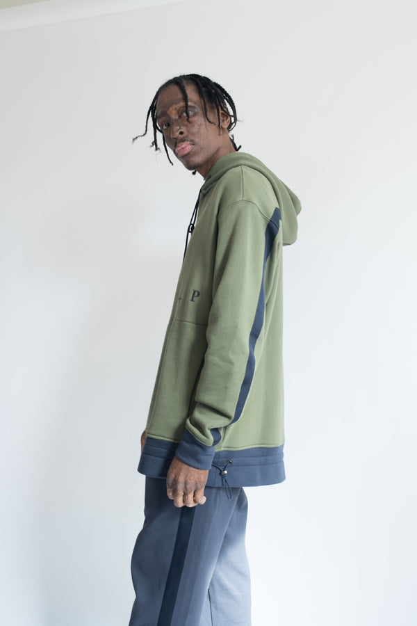 Grosgrain Hoodie in Olive with Navy Details