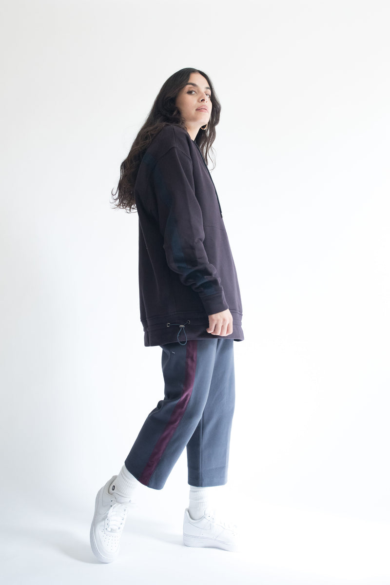 Grosgrain Hoodie in Wine with Navy Details