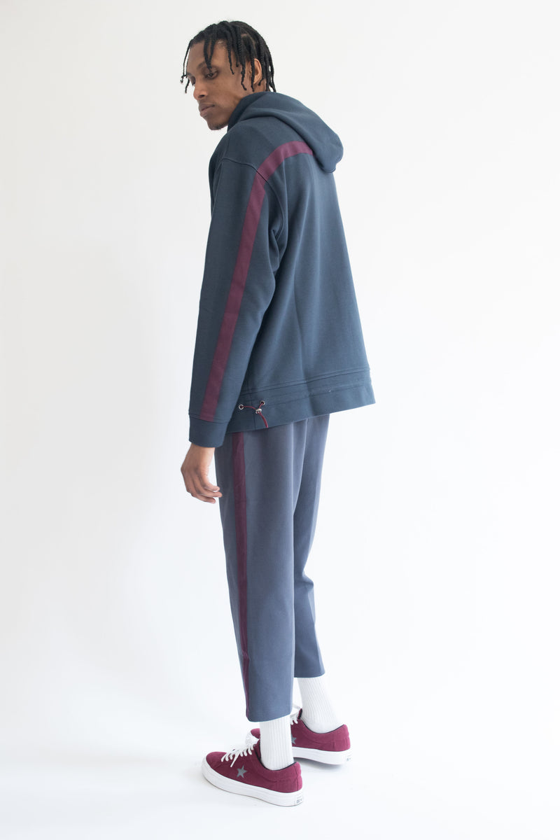 Grosgrain Hoodie in Navy with Wine Details