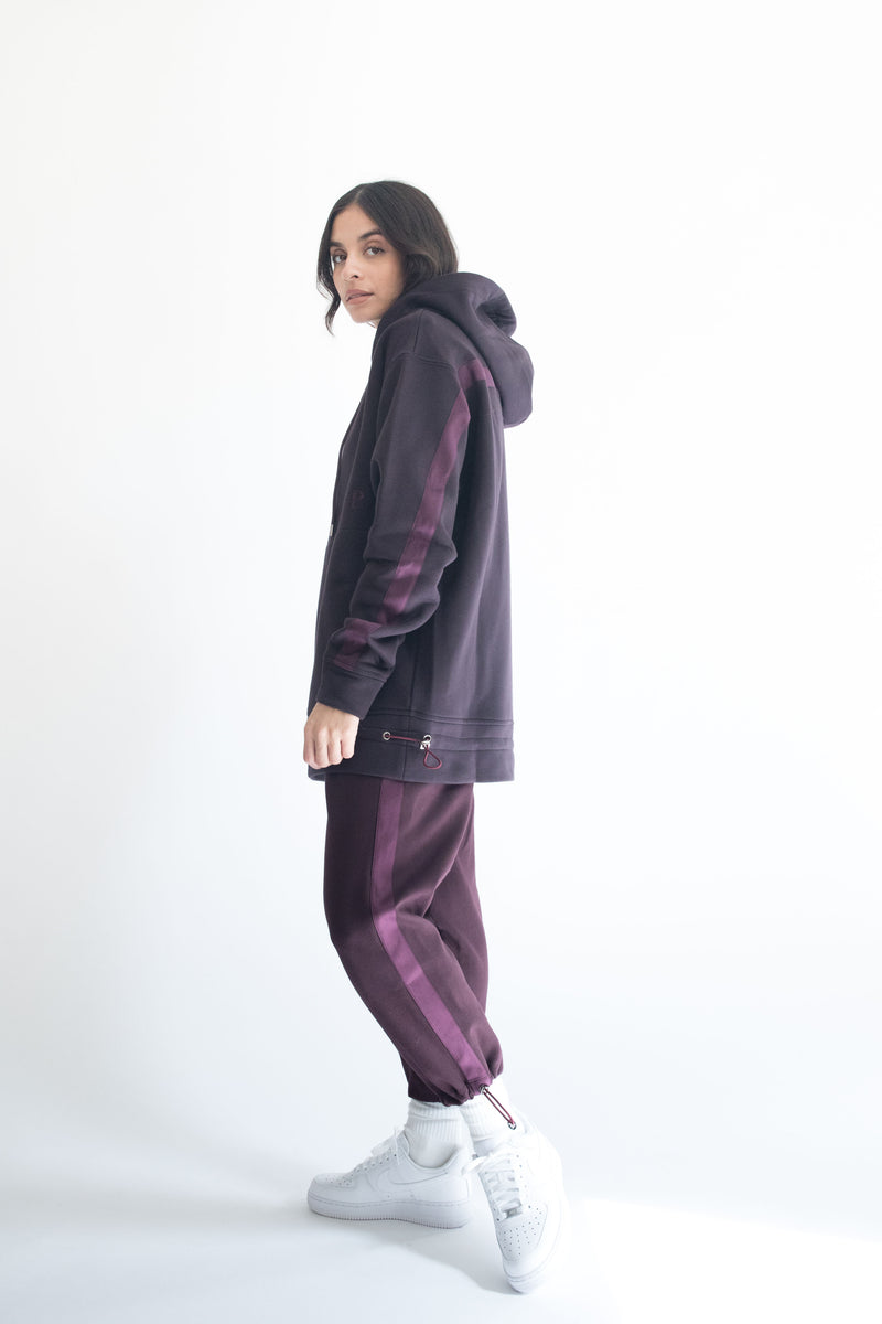 Grosgrain Hoodie in Wine with Wine Details