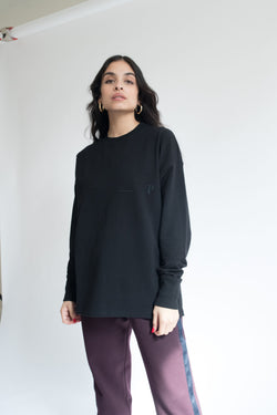Heavyweight Loose-Fit Long Sleeve Tee in Black