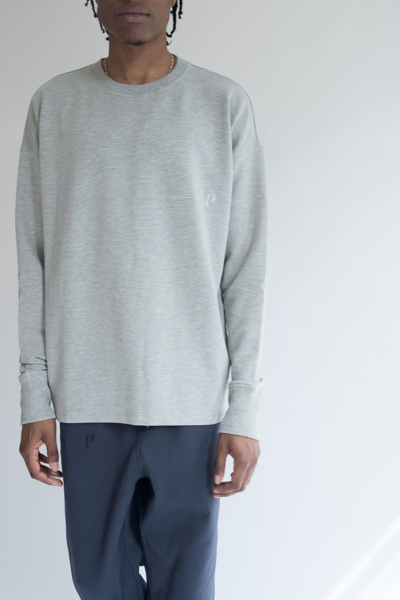 Heavyweight Loose-Fit Long Sleeve Tee in Gray