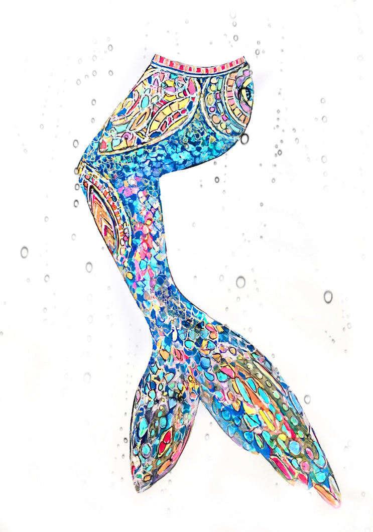 Blue Mosaic Mermaid Tail