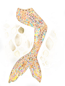 Golden Mosaic Mermaid Tail