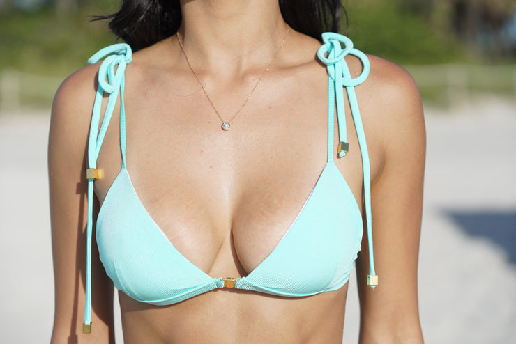 Daphne Aqua Triangle Ribbed Bikini Top