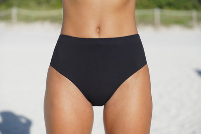 High waisted black ribbed bikini bottom