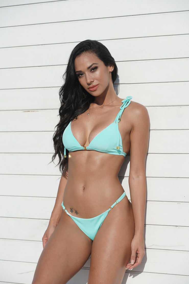 65 percent off aqua triangle bikini with adjustable bottom and ties at shoulder top