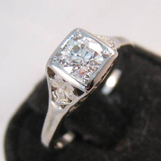 14k white gold c.1920s diamond filigree Engagement Ring