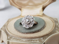 Platinum & 14k Edwardian mine & rose cut diamond halo Ring