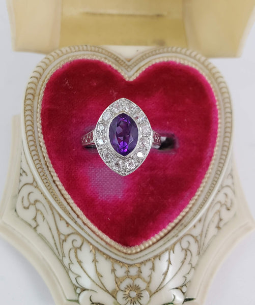 Vintage Amethyst & Mine Cut Diamond Ring