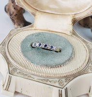 Vintage Diamond & Sapphire Wedding Band