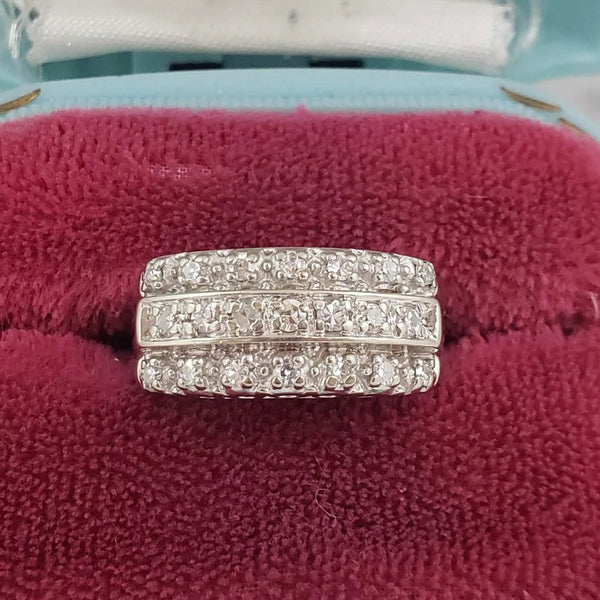 14k white gold 21 diamond 3 row estate band