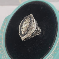 14k white gold c.20s filigree Deco diamond & quartz ring
