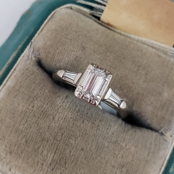14k white gold c.40s-50s emerald cut diamond engagement ring