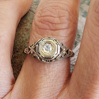 18k white gold Filigree Edwardian diamond Ring