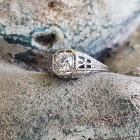 Platinum c.1920s diamond filigree Engagement Ring