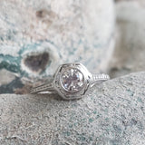 14k white gold c.1920s filigree diamond Engagement solitaire Ring