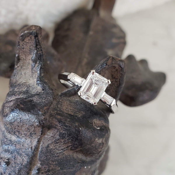 Platinum c.40s-50s Emerald Cut Diamond engagement ring