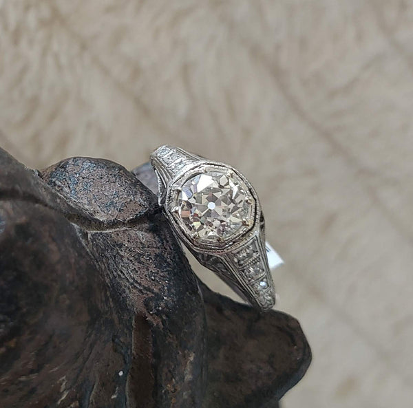Platinum Edwardian filigree European cut Diamond estate Ring