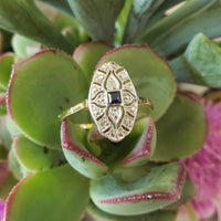 18k gold two tone Deco estate Sapphire & Diamond Ring