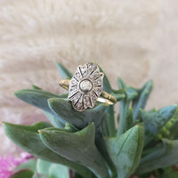 18k yellow gold & Platinum topped old cut Diamond Ring