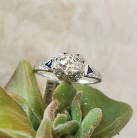 18k white gold vintage Art Deco Diamond & Sapphire filigree Ring