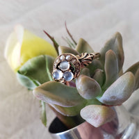 10k gold Victorian Moonstone & seed pearl crescent moon ring