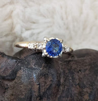 14k Gold Two Tone blue Sapphire & Diamond estate Ring