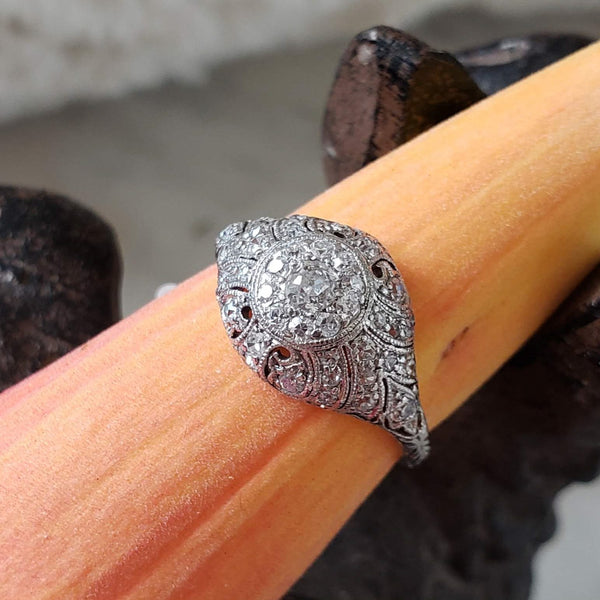 Platinum Edwardian Filigree diamond antique ring