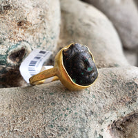 22k yellow gold Carved Face Custom Relic Ring